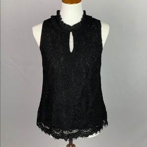 J. Crew Black Lace Ruffle Neck Top